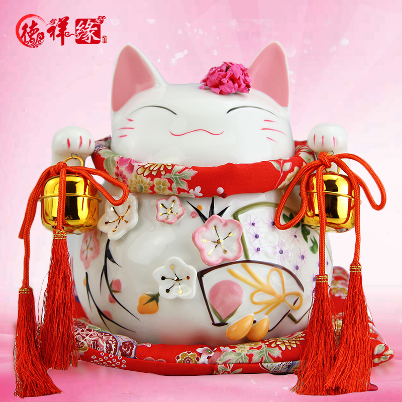 Itc edge ceramic lucky cat lucky cat ornaments opened lucky ornaments business gifts home decorations living room office