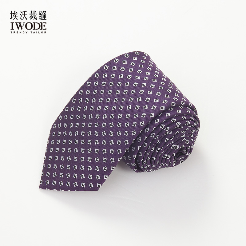 Iwode/evo summer new thin purple checkered jacquard tie formal wear business casual