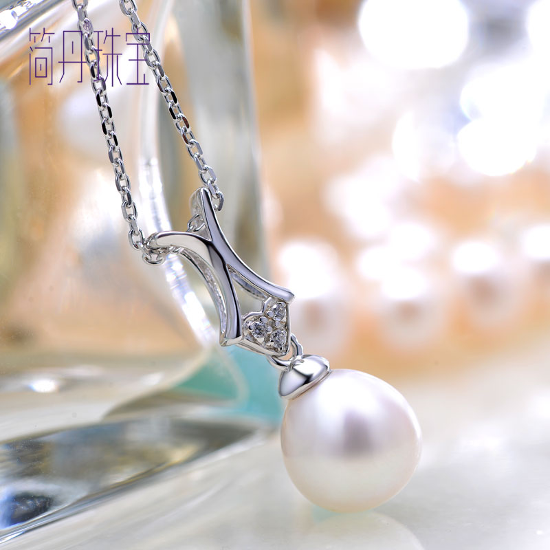 Jane dan freshwater pearl series encounter necklace shining zircon s925 silver inlaid pearl pendant necklace