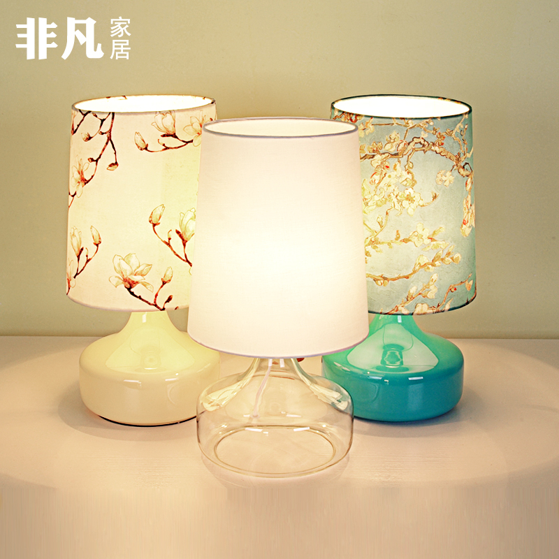 Jane european glass table lamp bedroom bedside lamp creative nordic ikea fabric warm and tian garden chinese wedding table lamp