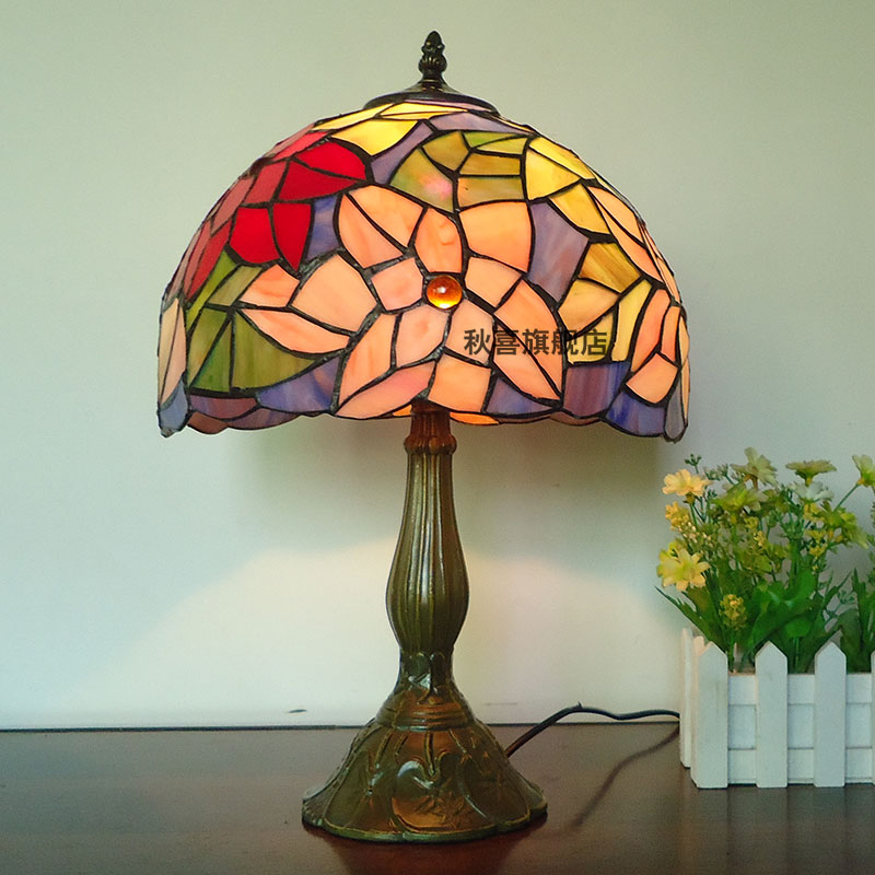 Jane european stained glass table lamp bedroom lamp bedside lamp modern minimalist garden lamp creative
