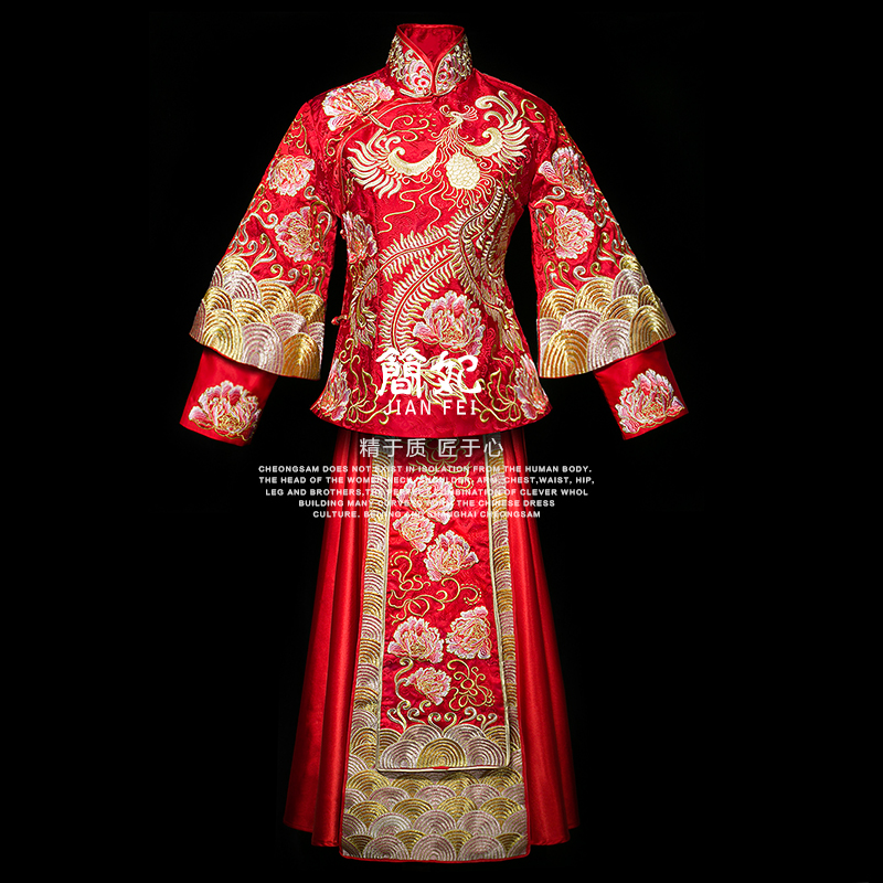 Jane fei 2016 spring and summer new retro embroidered dragons feng chinese toast clothing xiu xiu kimono dragon and phoenix gown dress gown skirt
