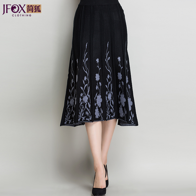 Jane fox middle-aged middle-aged women's skirts skirt autumn skirt big yards mother dress autumn and winter large size knitted skirt