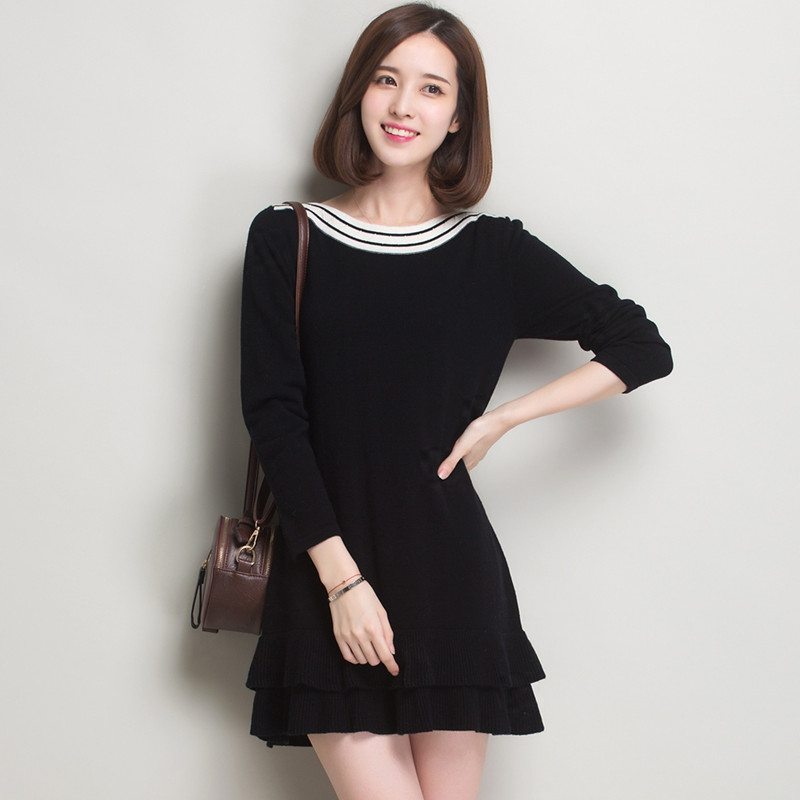 Jane ka 2015 new autumn and winter 100% pure wool sweater bottoming a word in the long section minone sweater dress flouncing