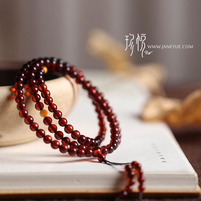 Jane wyatt jewelry quality preferential 4.5mm natural blood amber 108 prayer beads/amber prayer beads bracelet/bracelets