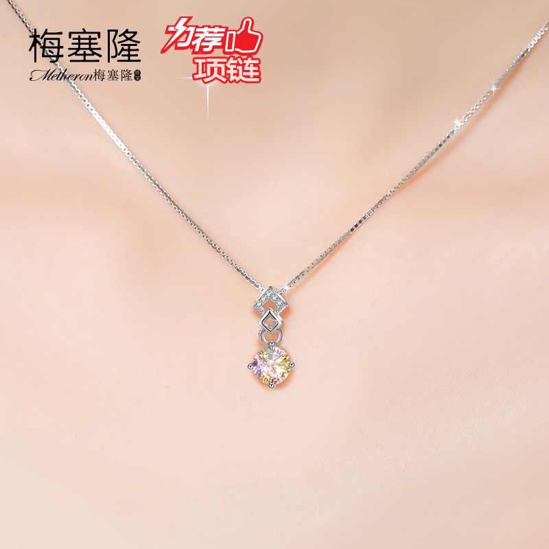 Japan and south korea more than color meise long diamond crystal necklace female short paragraph clavicle chain minimalist silver jewelry with fall and winter