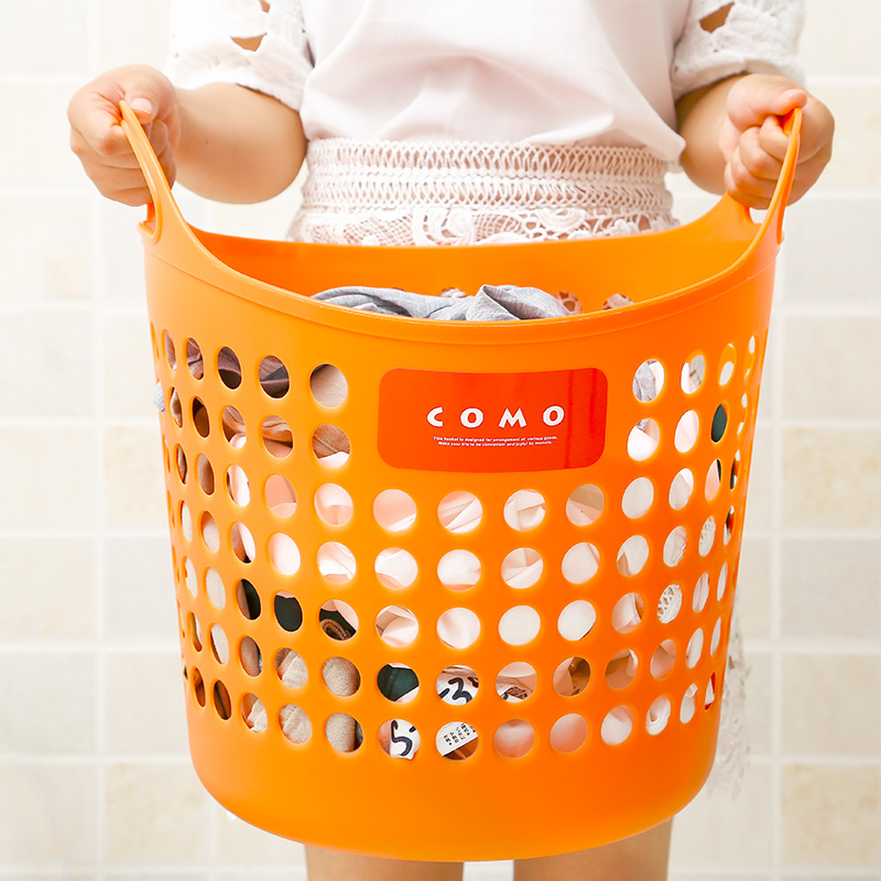 Japan imports inomata storage basket hollow plastic laundry basket laundry basket covered storage basket laundry basket storage box
