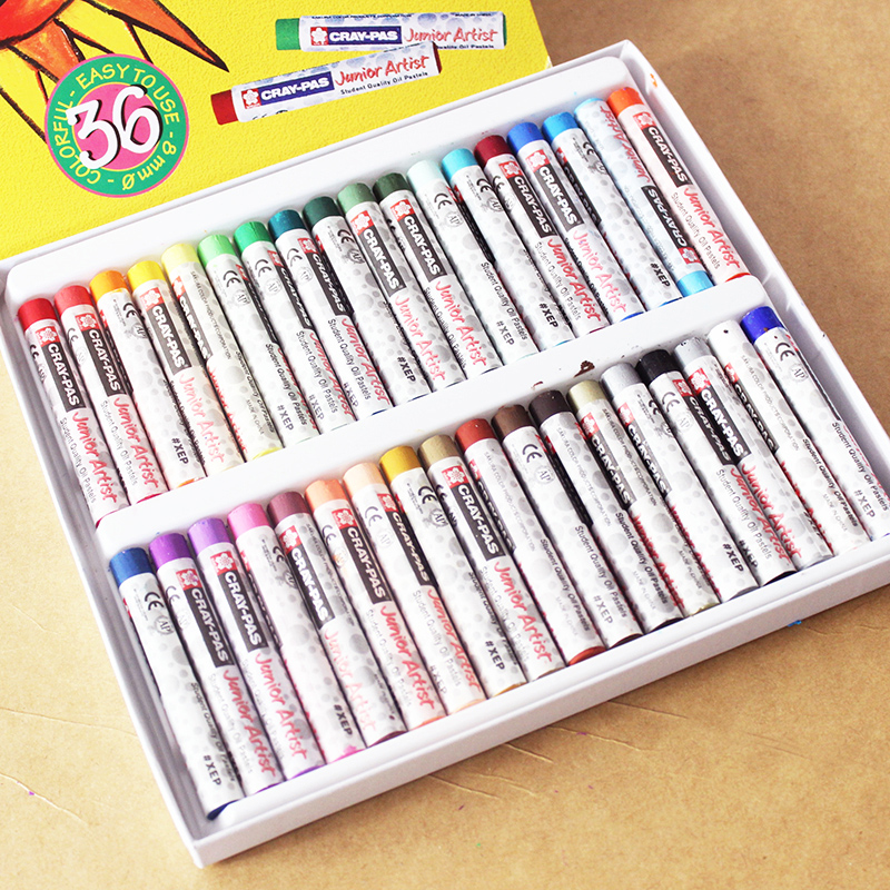 Japan imports sakura cherry brand pastel nontoxic 36 colors can be washed children oil pastel crayon drawing