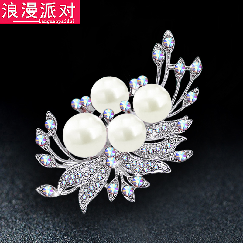 Japanese and korean fashion pearl crystal brooch lady sweater with jewelry butterfly brooch pin scarf shawl buckle buckle