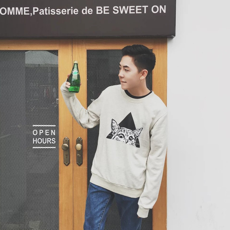 46a9a0bd5d4 Get Quotations · Japanese autumn harajuku style men s round neck sweater  new korean version of the small cat printing