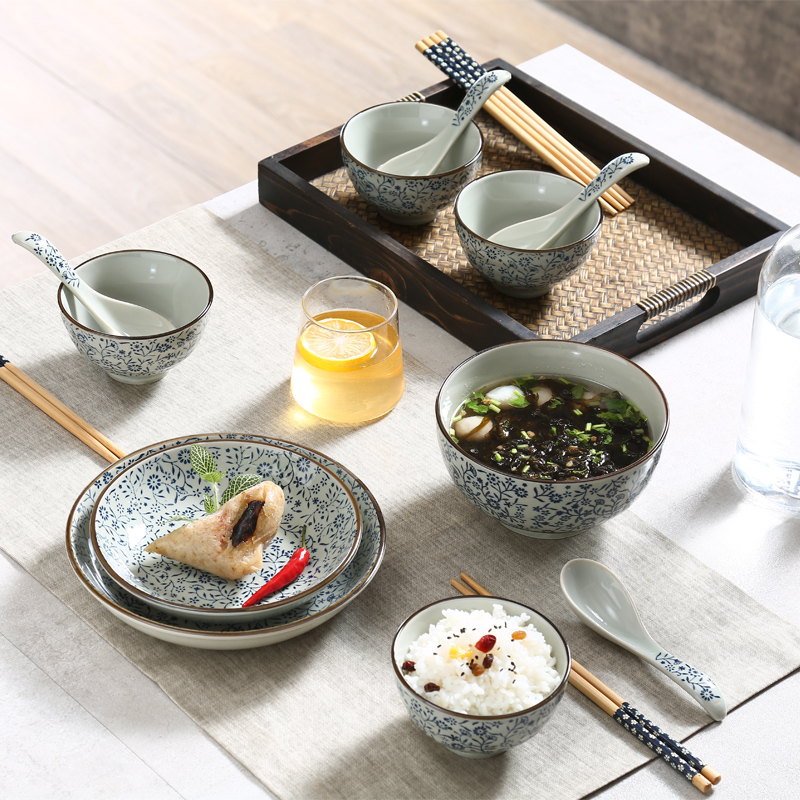 Japanese ceramic tableware underglaze color creative suite combination dishes crockery bowl dish suits household microwave oven