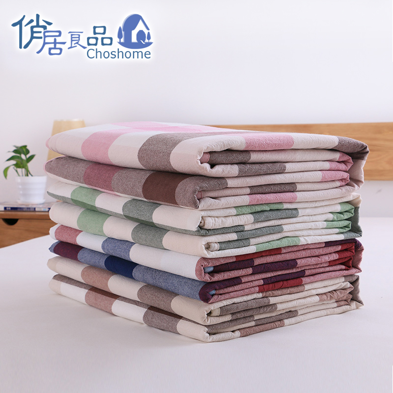 Japanese cotton plaid cotton washed cotton summer was cooler summer air conditioning is simple m solid mite thin quilts for children