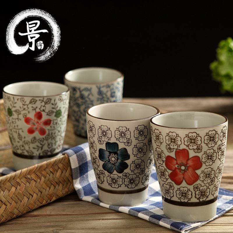 Japanese wind ceramic cup mug cup handy cup painted simple cup milk cup creative cup