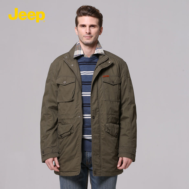 Jeep/jeep men's autumn and winter coat solid color casual cotton padded clothes autumn and winter cotton collar JW11WJ236