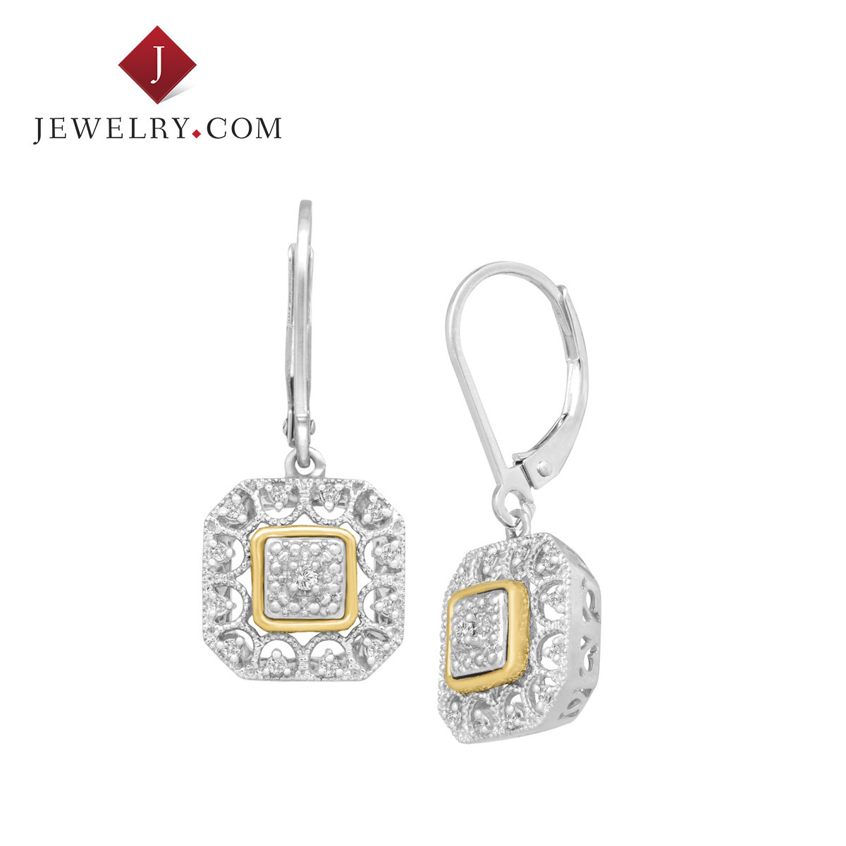 Jewelry.com official 925 silver 0.1 karat k gold diamond gold and silver thread box ms. retro charm earrings