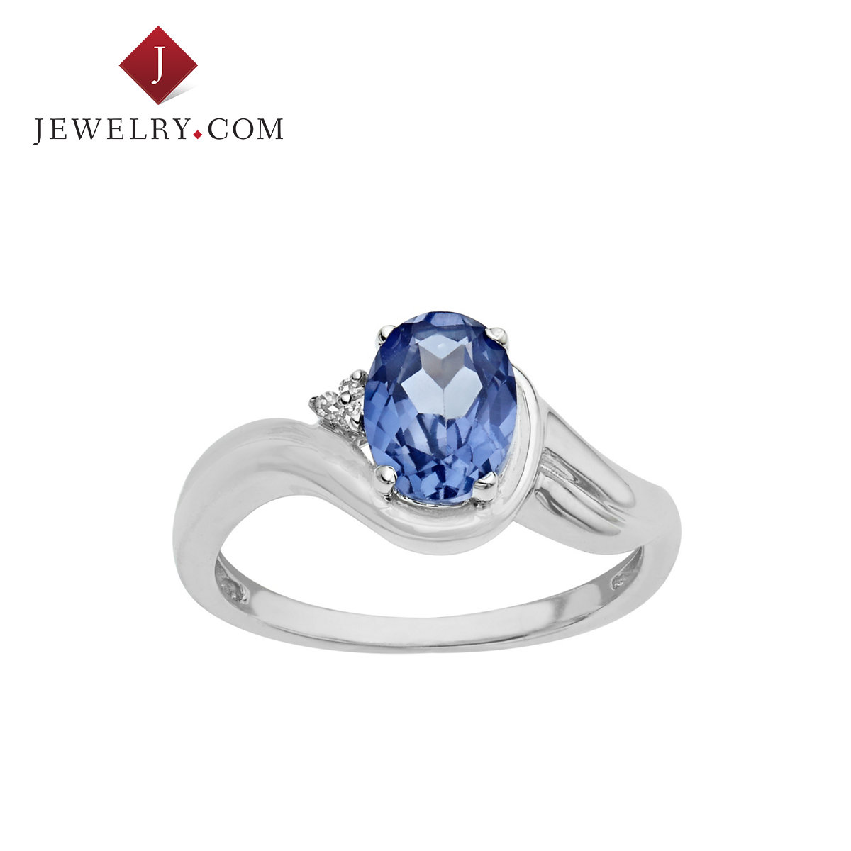Jewelry.com official crispp and chic and elegant inlaid sapphire diamond nvjie 925 sterling silver 1.875 karat