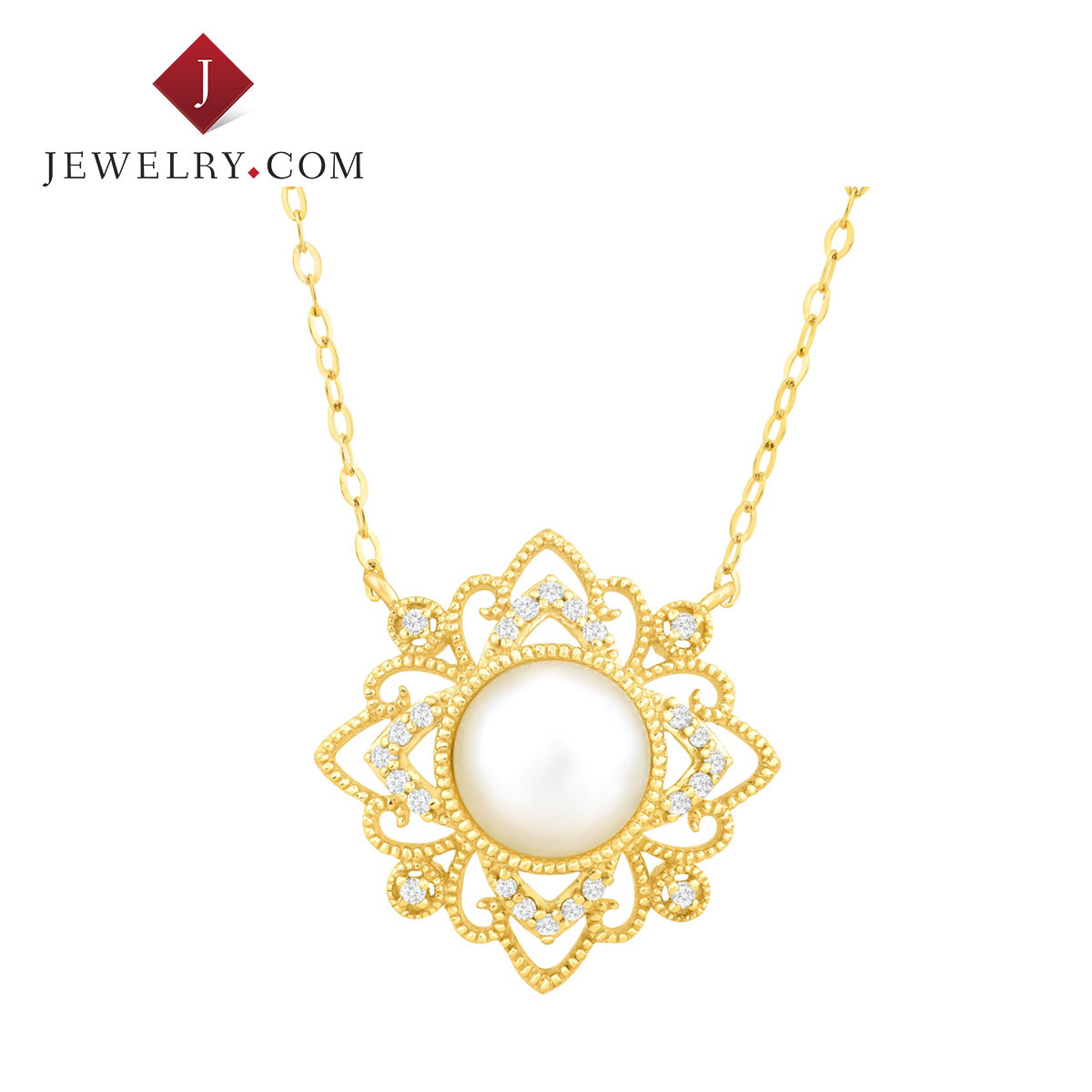 Jewelry.com official elegant atmosphere 0.1 karat k gold freshwater pearl diamond pendant woman with a necklace