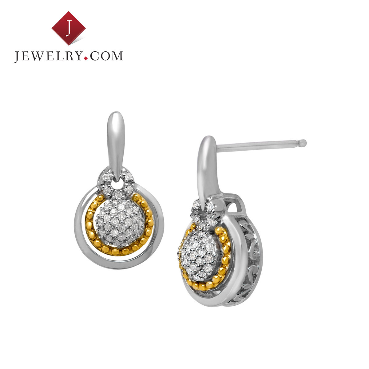 Jewelry.com official ms. shiny fashion 0.2 karat k gold diamond sterling silver earrings temperament models in europe and america