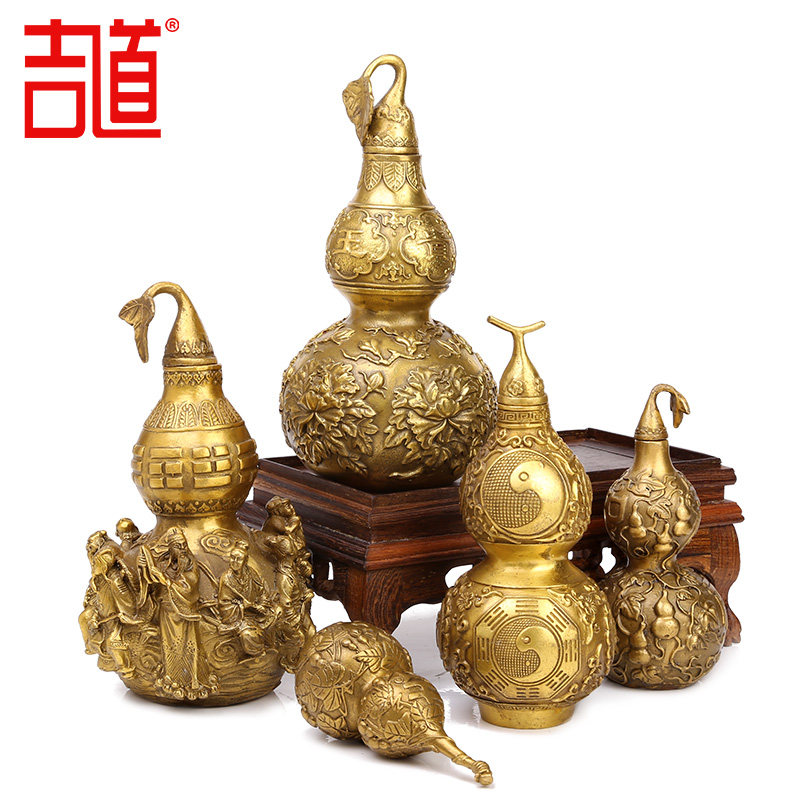Ji tao brass gossip copper gourd ornaments large copper gourd gourd pendant trumpet home gifts