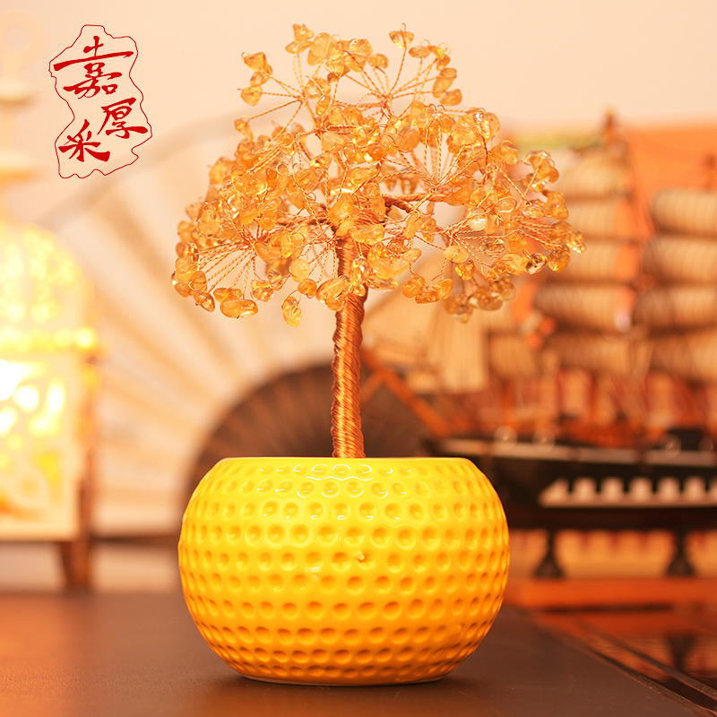 Jia thick mining natural citrine crystal wishing tree crystal tree ornaments home decor furnishings harmoniously