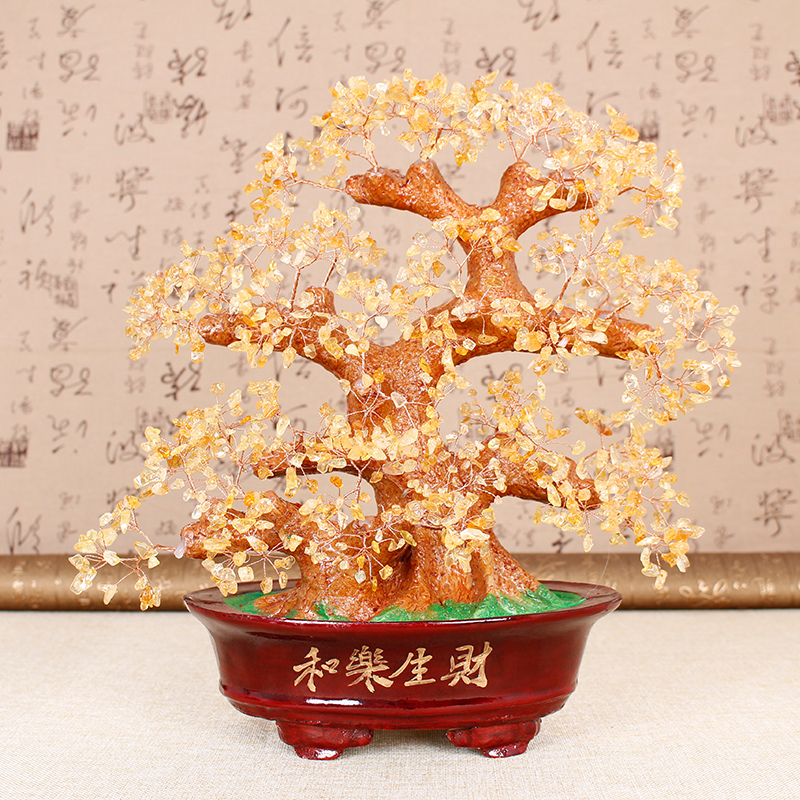 Jia thick mining natural crystal and music to make money lucky tree pachira enrichment gas home living room office decoration