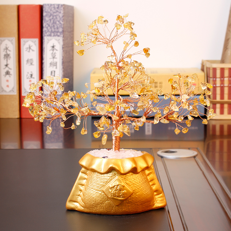 Jia thick mining natural crystal tree lucky feng shui ornaments home accessories living room tv cabinet decorative handicrafts