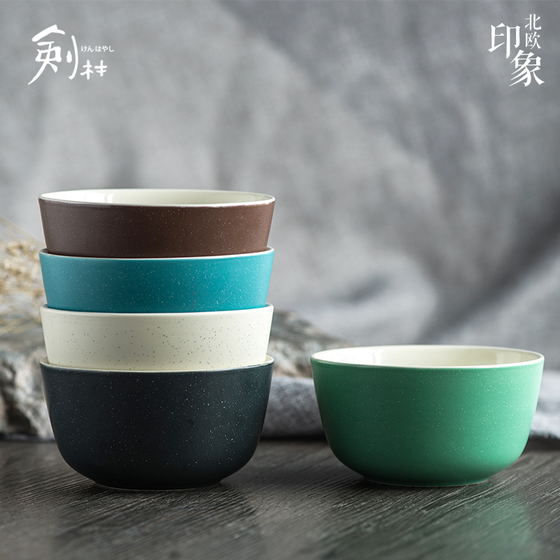 Jian lin european creative ceramic soup bowl bowl bowl to eat rice bowl 4.5 inch bowl of rice bowl household nordic impression