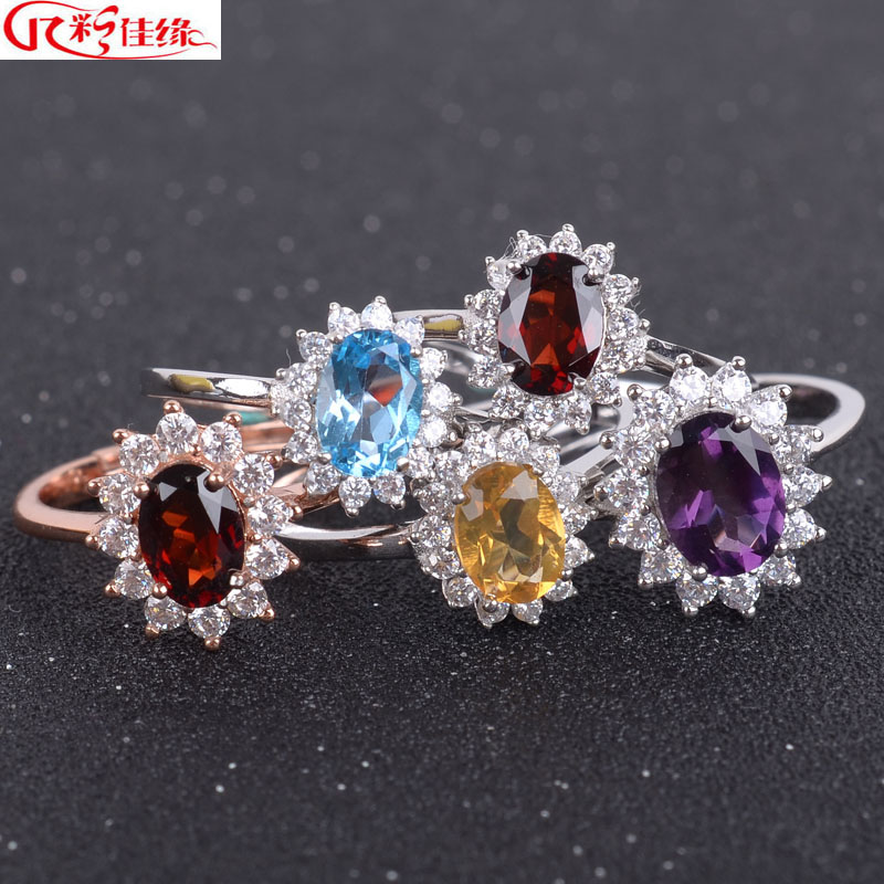 Jiayuan 925-color nvjie diana natural garnet ring 925 silver rhodium ring multicolored crystal ring