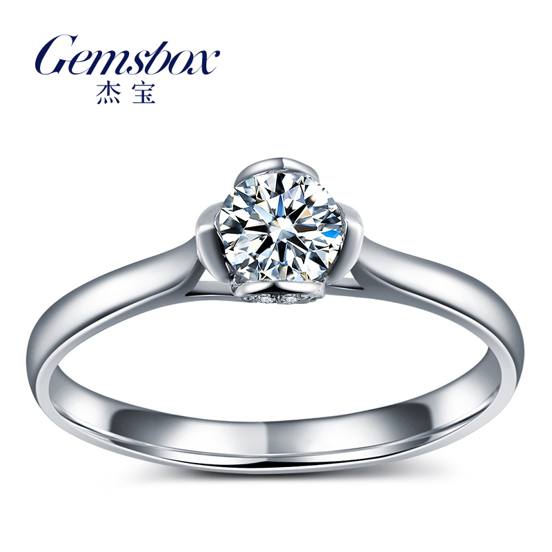 Jie bao emotionally k white gold diamond ring diamond wedding ring female courtship diamond loose diamonds custom