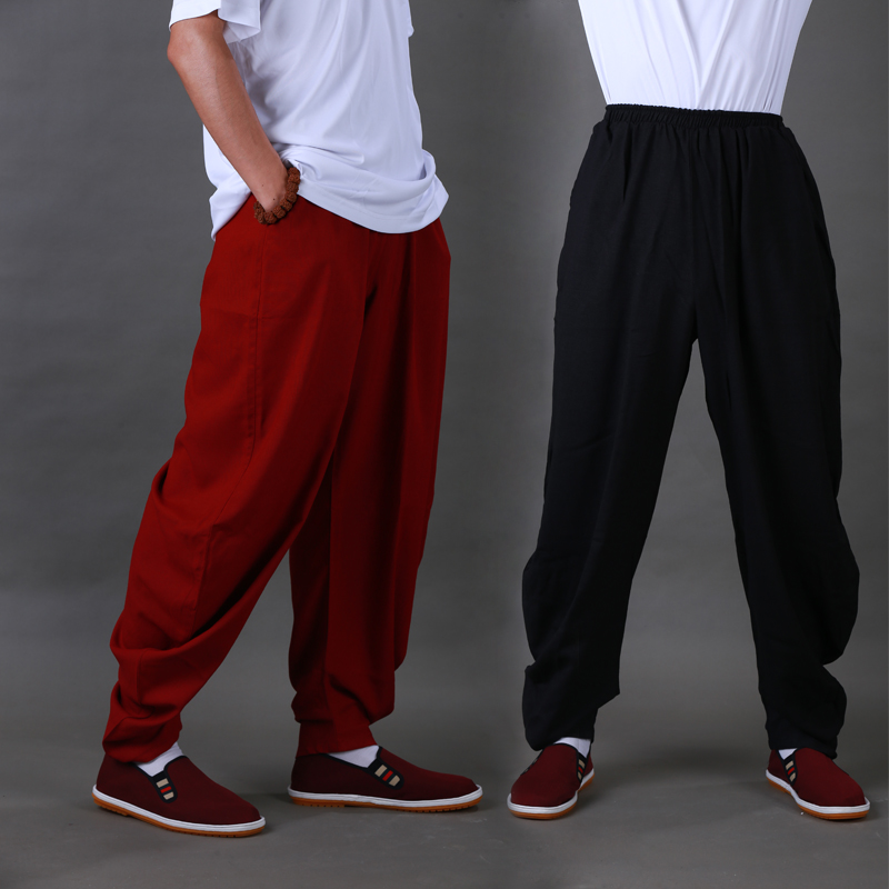 Jie yi weitan hemp tai chi tai chi clothing tai chi martial arts practice pants pants female autumn and winter linen cotton men pants pants pants morning