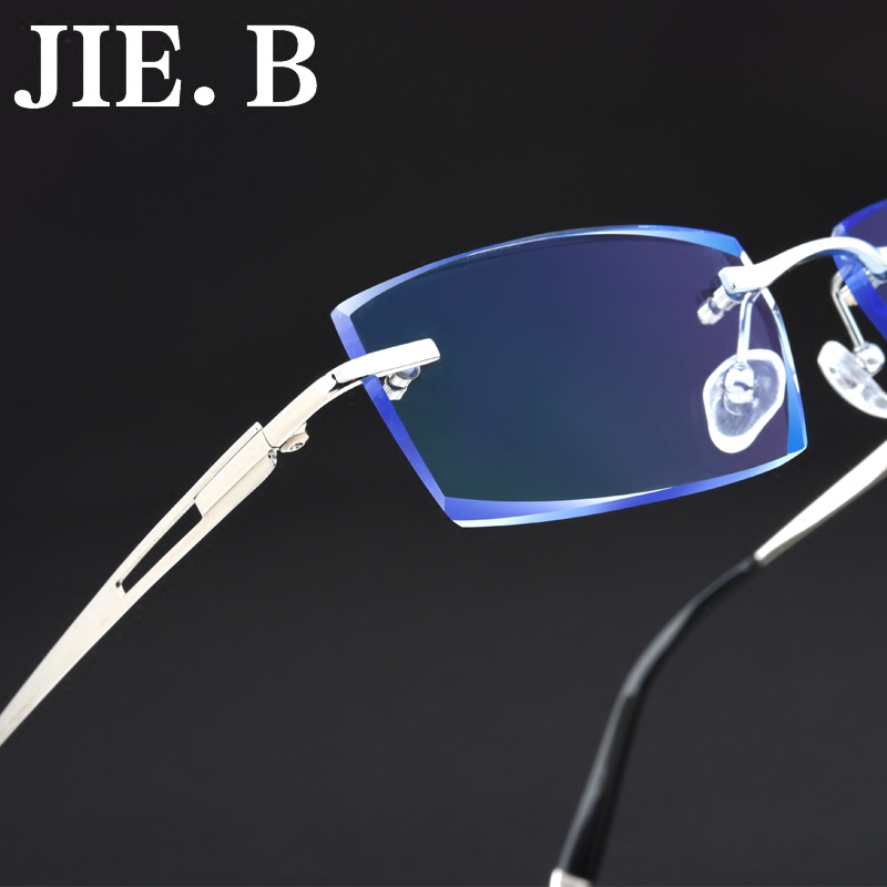 Jieb chromotropic men's diamond trimming rimless glasses frames myopia myopia ultralight titanium rimless glasses frame myopia frames commerce