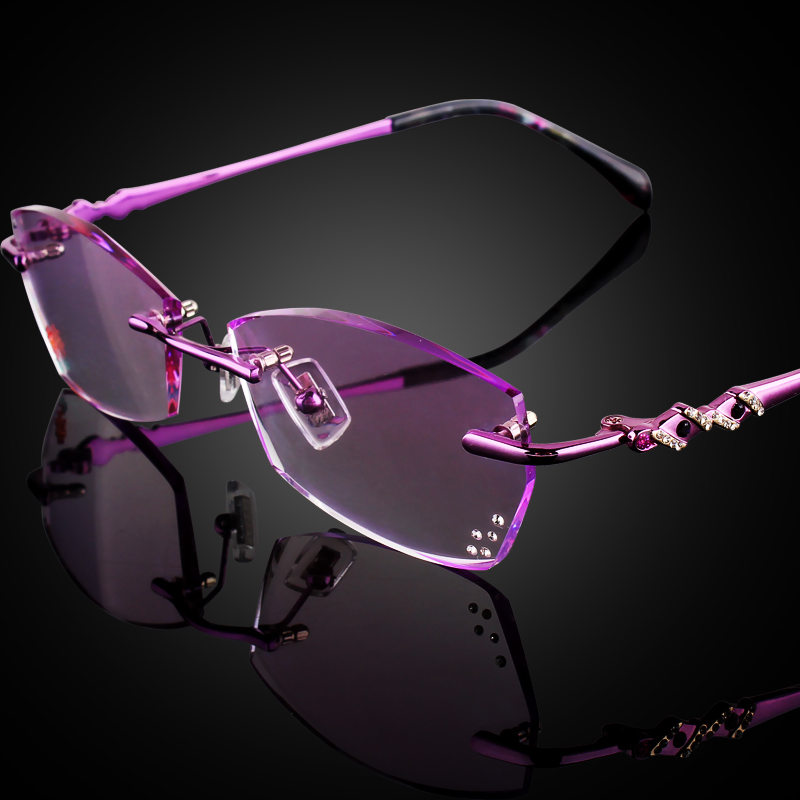 Jiebang finished with glasses rimless glasses female ultralight frame eye frame glasses tide of imported titanium diamond trimming