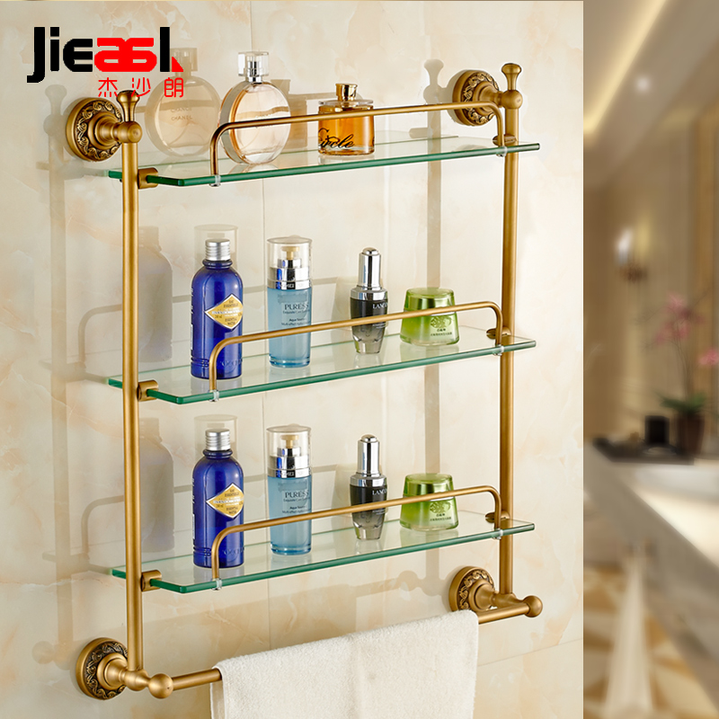 Jiesha lang glass shelf vanity double with a single shot the whole european copper antique bathroom toilet