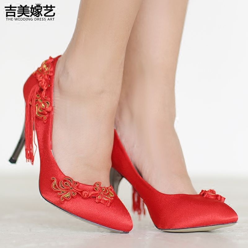Jigme married art wedding shoes red high heels shoes new shoes chinese knot tassel 2016 new wedding shoes satin surface