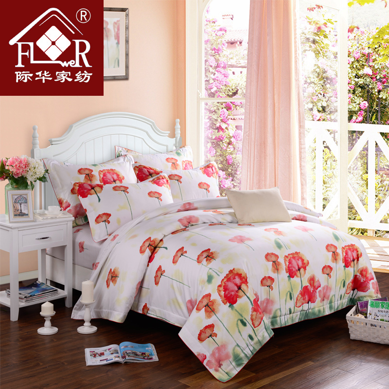 Jihua textile cotton reactive printing a family of four ink painting─as suite bedding textile bed linen sets free shipping