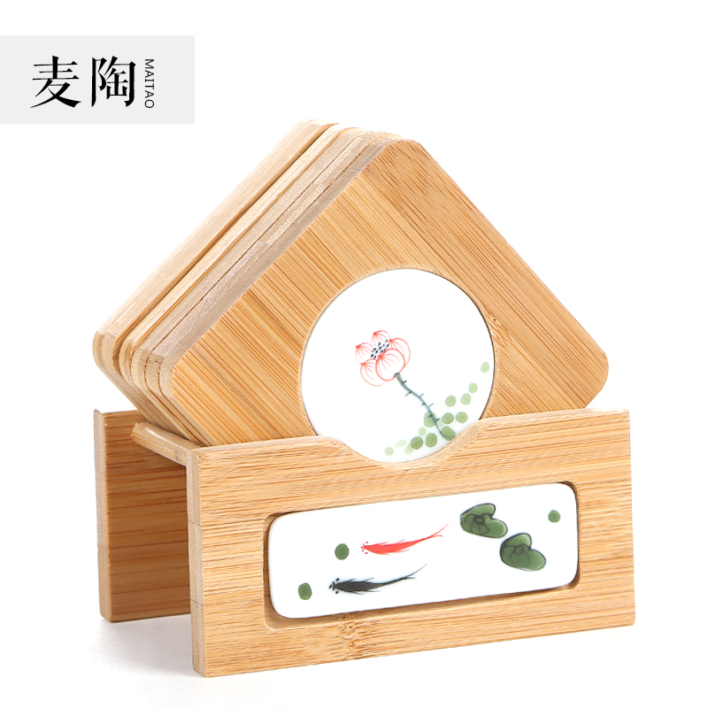 Jimmy pottery ceramic coasters creative handmade fish lotus flowers painted bamboo inlaid ceramic coasters