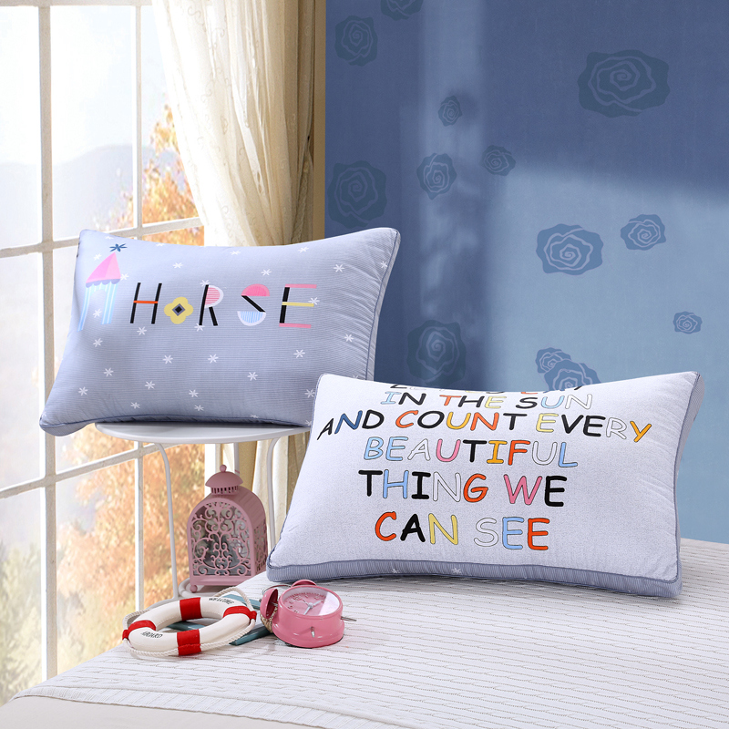 Jin shijia printing and comfortable velvet feather pillow cotton pillow cotton pillow student nursing pillow neck pillow one pair beat two 2