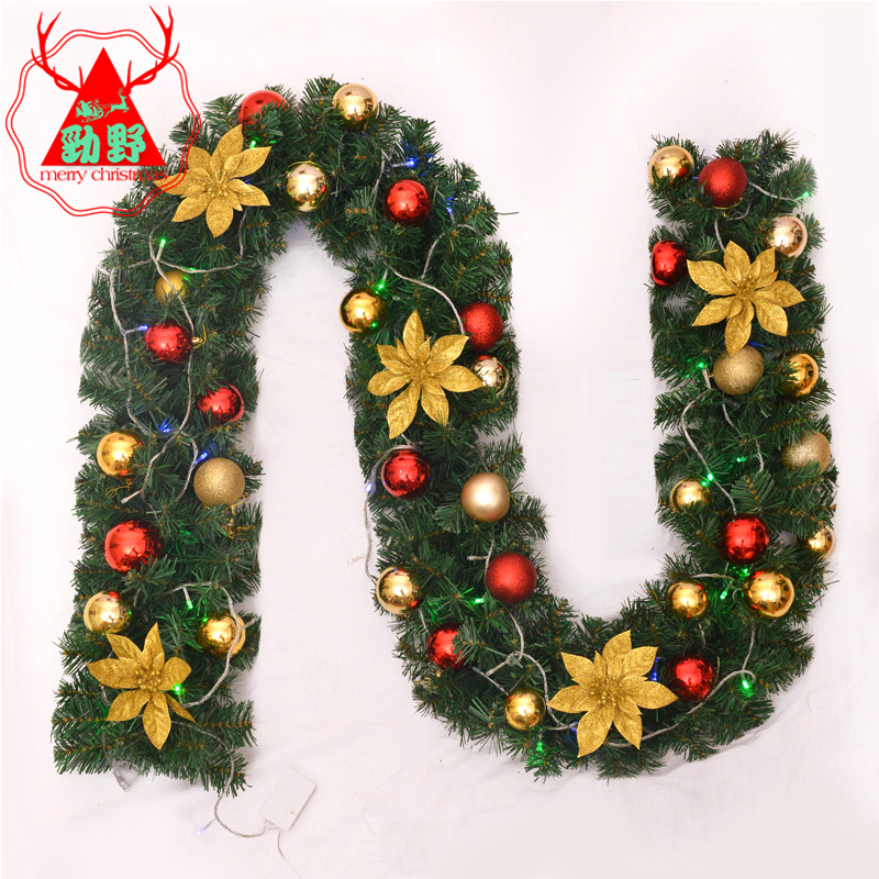 Jin ye christmas rattan encryption 270cm christmas flower decoration doors and door wreath hanging christmas decorations christmas tree with lights