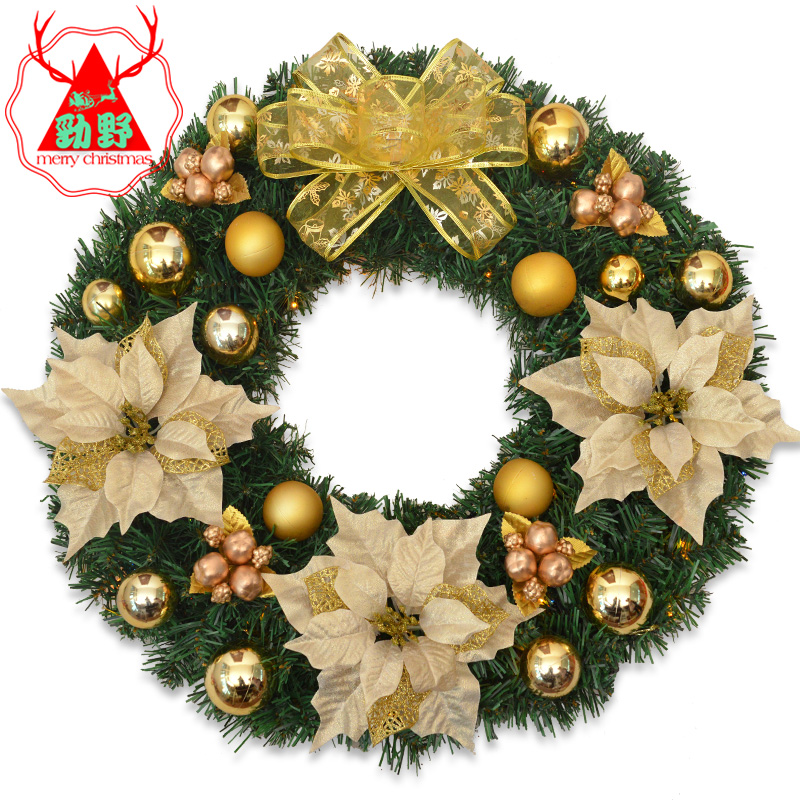 Jin ye golden christmas wreath door trim large christmas tree holiday decorations hotel door hanging rattan ornament