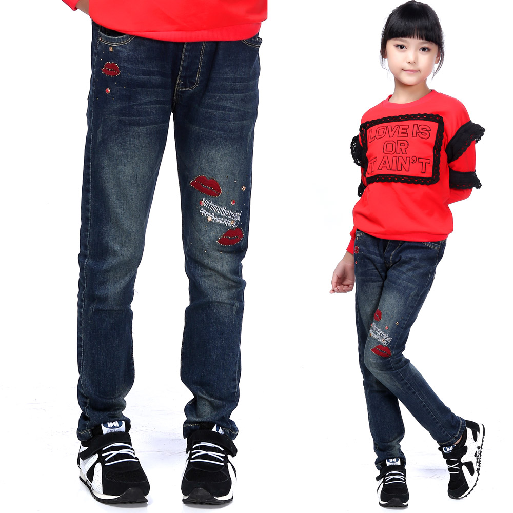 Jing hao kids 2016 spring new female big boy child children jeans trousers slim casual pants female students