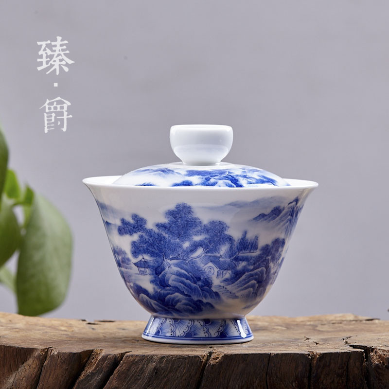 Jingdezhen ceramic handmade tea cup eggshell porcelain tureen bowl pupil painted blue and white landscape jingdezhen porcelain tea set