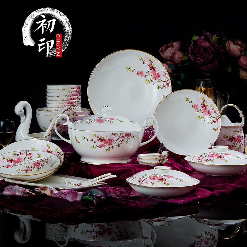 Jingdezhen ceramic household household porcelain bone china tableware suit upscale dishes dishes suit wedding housewarming gift