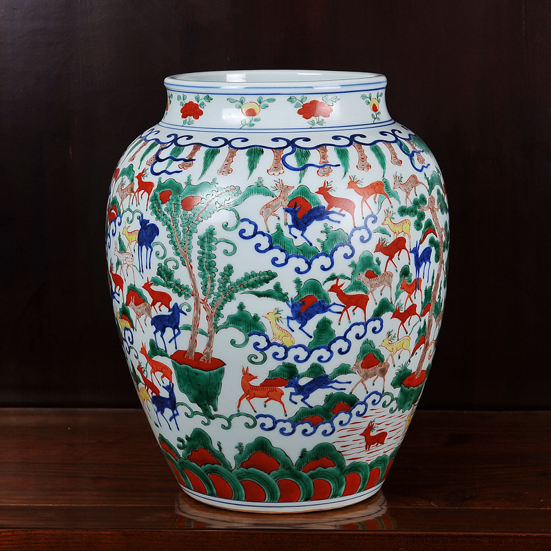 Jingdezhen ceramic imitation of the ming dynasty colorful hundred deer grain tank vase home crafts living room decorations ornaments