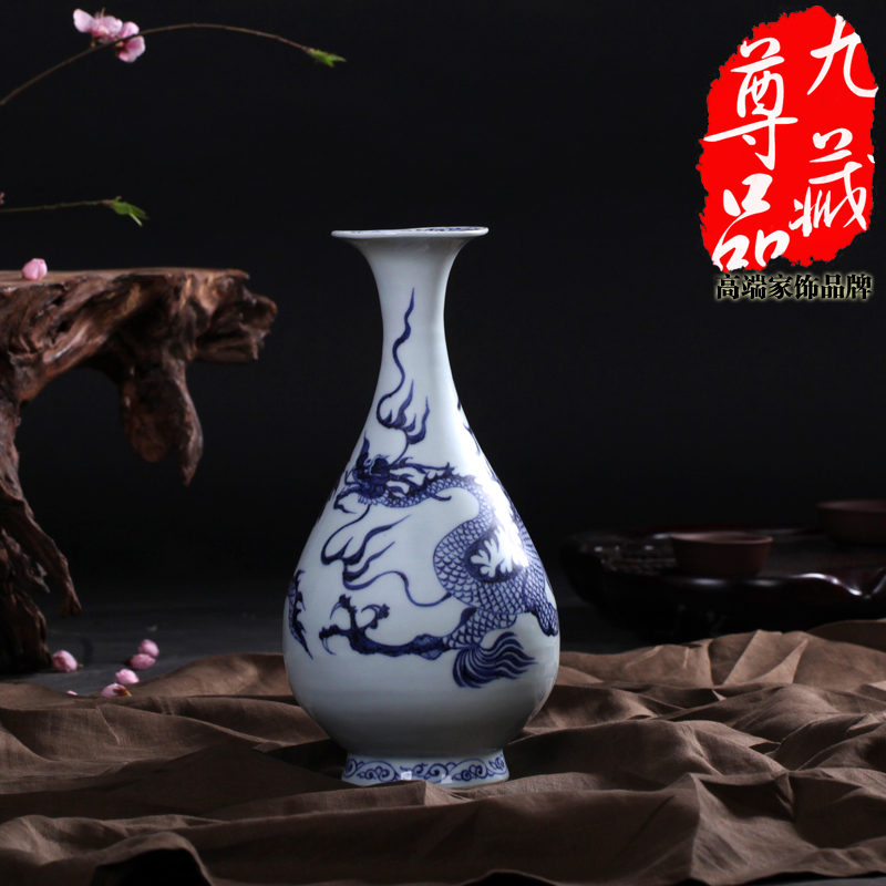 Jingdezhen ceramic imitation of the yuan blue and white porcelain dragon chun bottle vase flowers into home decor craft ornaments