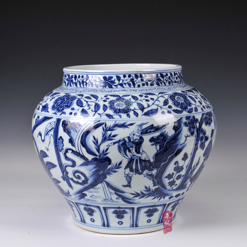 Jingdezhen ceramic tradition highlighting story storage tank ornaments imitation yuan blue and white porcelain vase home decor