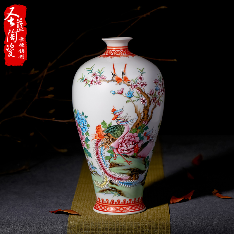 Jingdezhen ceramic vase painted pastel delineators chinese modern minimalist living room decoration crafts ornaments
