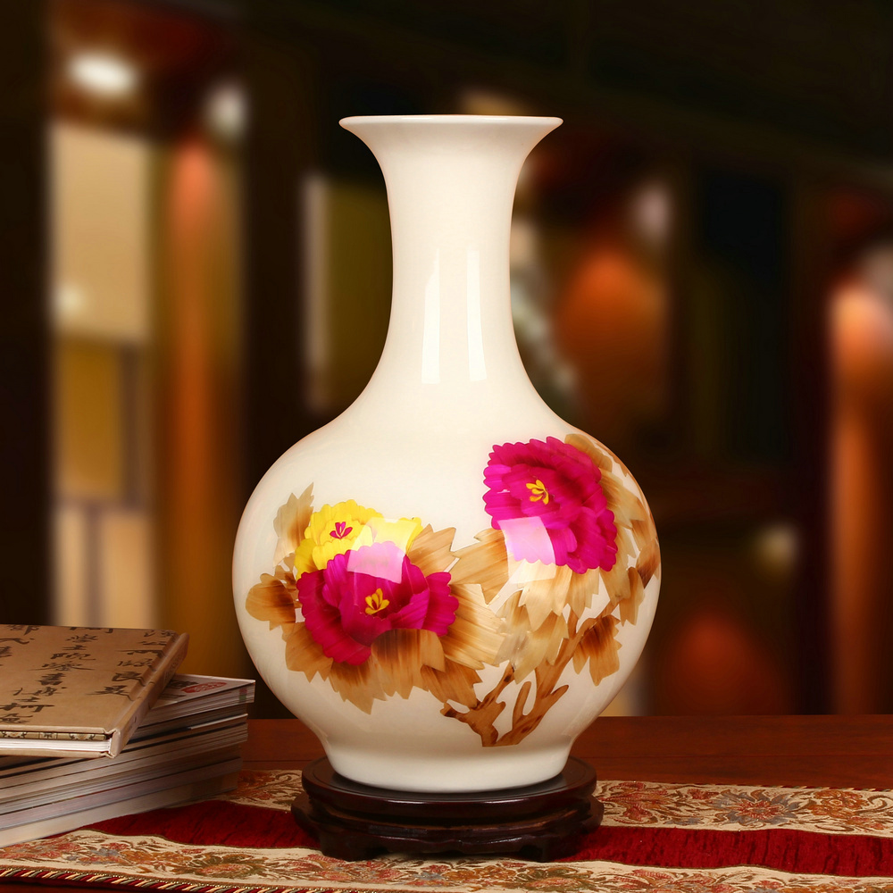 Jingdezhen ceramic white peony straw vase modern minimalist fashion home decoration craft ornaments