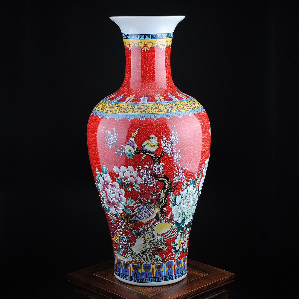 Jingdezhen ceramics european chinese red enamel floor large vase modern home decoration living room placed pieces
