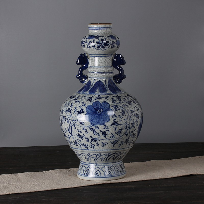 Jingdezhen ceramics kiln opening piece of antique crackle glaze vase antique home accessories living room ornaments amphora