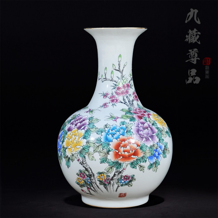 Jingdezhen ceramics upscale antique painted pastel gold reward blossoming marriage room ornaments crafts